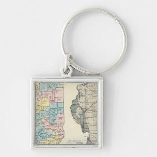 Politische Karte von Illinois Silberfarbener Quadratischer Schlüsselanhänger