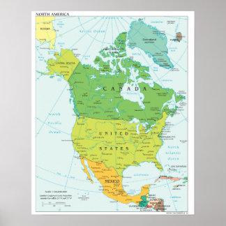 Politische Karte von Nordamerika Poster