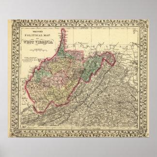 Politische Karte von West Virginia Poster