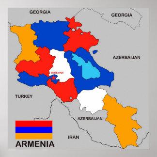 politische Kartenflagge Armenien-Landes Plakatdruck