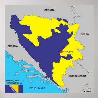 Politische Kartenflagge Bosnien-Herzegowinalandes Posterdrucke
