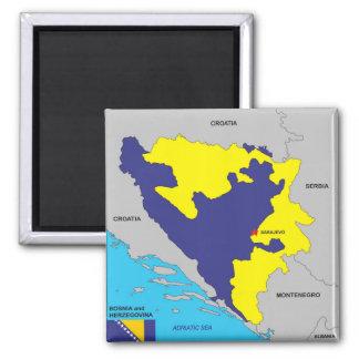 Politische Kartenflagge Bosnien-Herzegowinalandes Quadratischer Magnet