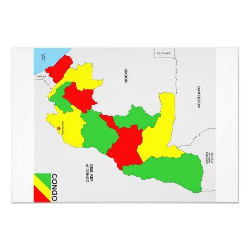 politische Kartenflagge der Kongo-Landes Photo