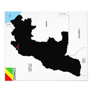 politische Kartenflagge der Kongo-Landes Kunstfoto