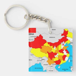 politische Kartenflagge des Chinalandes Schlüsselring