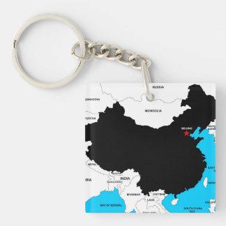politische Kartenflagge des Chinalandes Schlüsselanhänger