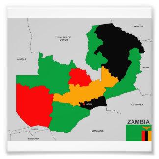 politische Kartenflagge des Sambialandes Foto