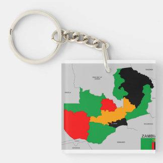 politische Kartenflagge des Sambialandes Beidseitiger Quadratischer Acryl Schlüsselanhänger