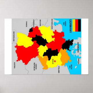 politische Kartenflagge Deutschland-Landes Posterdrucke