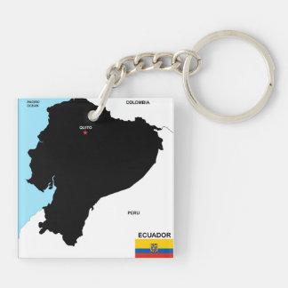 politische Kartenflagge Ecuador-Landes Schlüsselanhänger