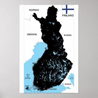 politische Kartenflagge Finnland-Landes Plakatdrucke