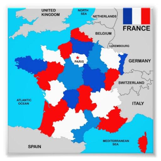 politische Kartenflagge Frankreich-Landes Foto Drucke