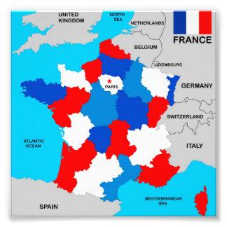 politische Kartenflagge Frankreich-Landes Photo Drucke
