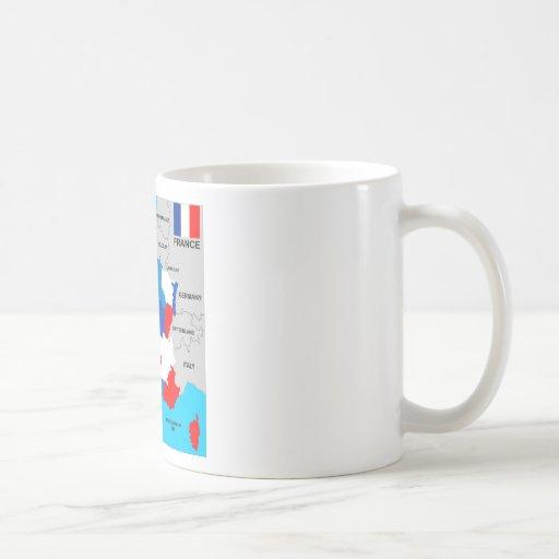 politische Kartenflagge Frankreich-Landes Tee Haferl