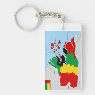 politische Kartenflagge Guinea-Bissau Landes Schlüsselanhängern