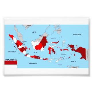 politische Kartenflagge Indonesien-Landes Kunst Fotos