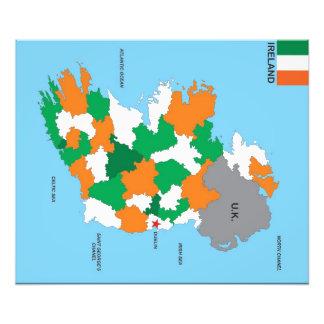 politische Kartenflagge Irland-Landes Kunstfotos