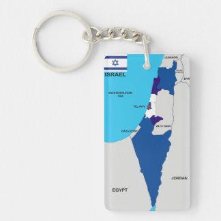 politische Kartenflagge Israel-Landes Schlüsselring