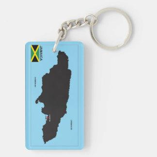 Politische Kartenflagge Jamaika-Landes Beidseitiger Rechteckiger Acryl Schlüsselanhänger