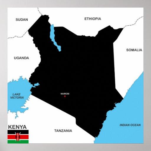 politische Kartenflagge Kenia-Landes Plakat