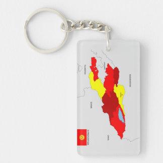 politische Kartenflagge Kirgisistan-Landes Schlüsselanhänger