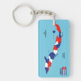 Politische Kartenflagge Kuba-Landes Beidseitiger Rechteckiger Acryl Schlüsselanhänger