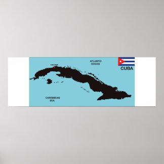 Politische Kartenflagge Kuba-Landes Plakatdrucke