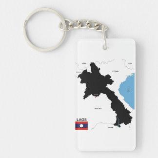 politische Kartenflagge Laos-Landes Einseitiger Rechteckiger Acryl Schlüsselanhänger