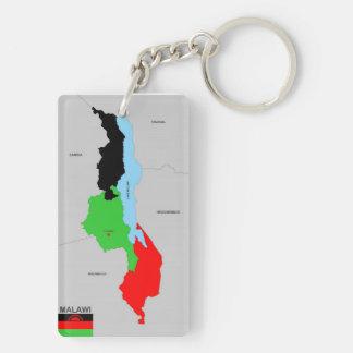 Politische Kartenflagge Malawi-Landes Beidseitiger Rechteckiger Acryl Schlüsselanhänger