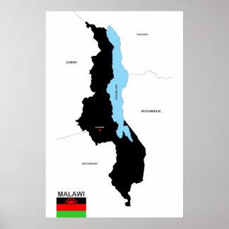 Politische Kartenflagge Malawi-Landes Plakatdruck
