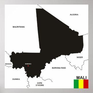 politische Kartenflagge Mali-Landes Poster
