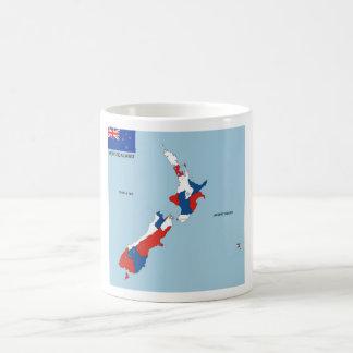 politische Kartenflagge Neuseeland-Landes Kaffeetasse