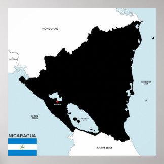 politische Kartenflagge Nicaragua-Landes Plakatdruck