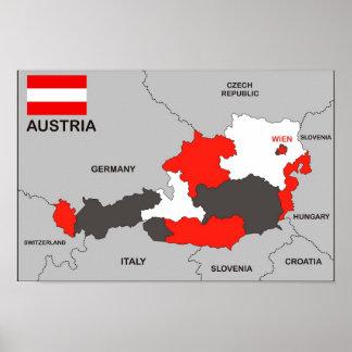 politische Kartenflagge Österreich-Landes Poster