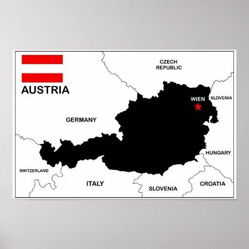 politische Kartenflagge Österreich-Landes Plakat