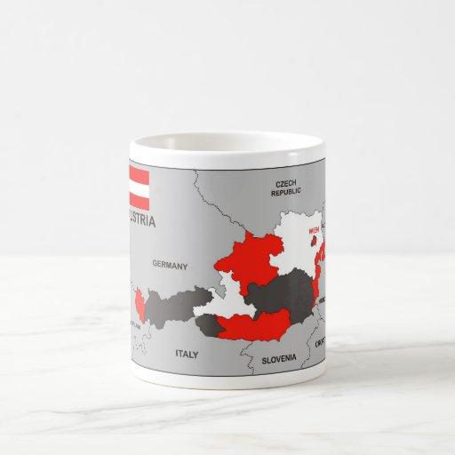 politische Kartenflagge Österreich-Landes Kaffeetasse