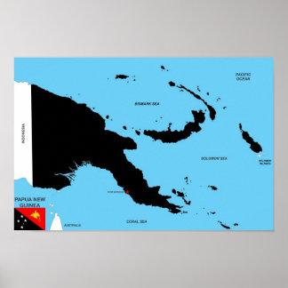 Politische Kartenflagge Papua-Neu-Guinea Landes Plakate