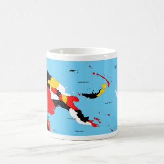 Politische Kartenflagge Papua-Neu-Guinea Landes Kaffeehaferl