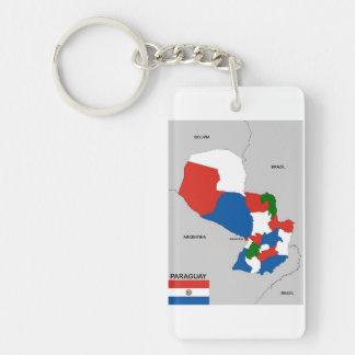 politische Kartenflagge Paraguay-Landes Einseitiger Rechteckiger Acryl Schlüsselanhänger