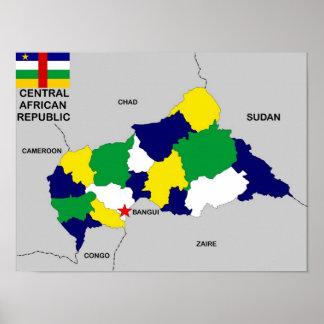 politische Kartenflagge Republik Zentralafrika Plakatdrucke