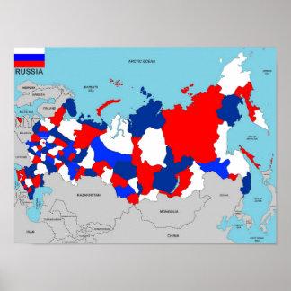 politische Kartenflagge Russland-Landes Poster