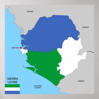politische Kartenflagge Sierra- Leonelandes Plakate