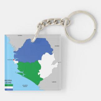 politische Kartenflagge Sierra- Leonelandes Schlüsselanhänger