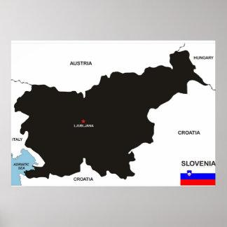 politische Kartenflagge Slowenien-Landes Plakat