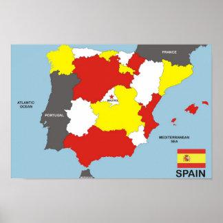 politische Kartenflagge Spanien-Landes Plakate