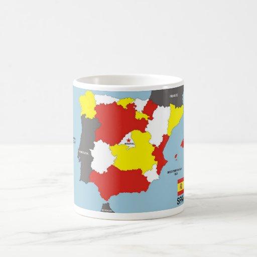 politische Kartenflagge Spanien-Landes Kaffeetassen