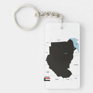 politische Kartenflagge Sudan-Landes Einseitiger Rechteckiger Acryl Schlüsselanhänger
