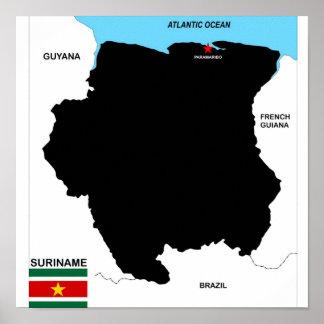 politische Kartenflagge Surinam-Landes Posterdruck