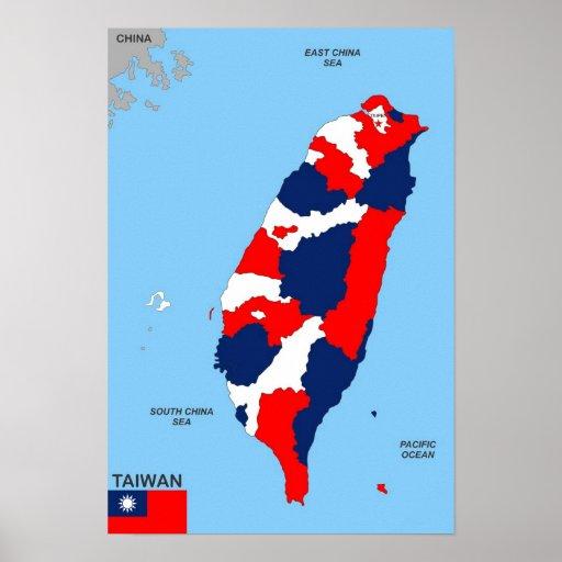 politische Kartenflagge Taiwan-Landes Plakate