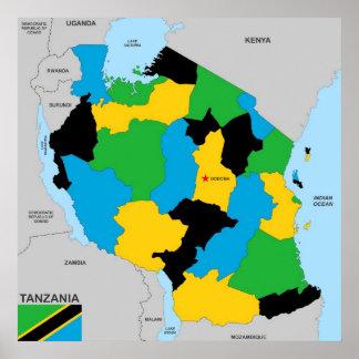Politische Kartenflagge Tansania-Landes Poster